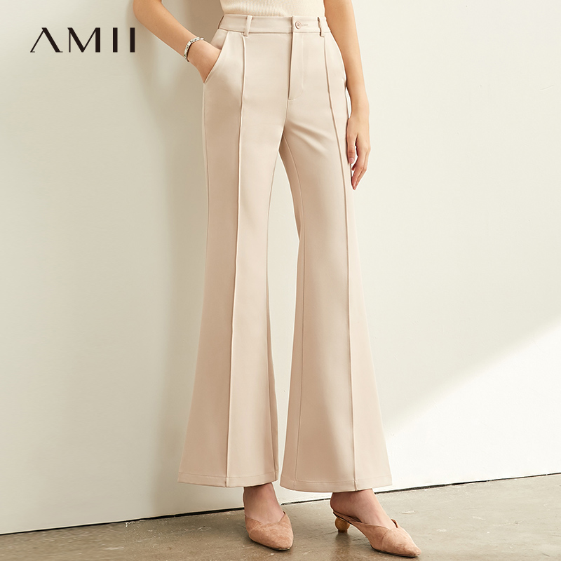 Amii Minimalism Solid Casual Trousers Women High Waist Flares Pant 11940588