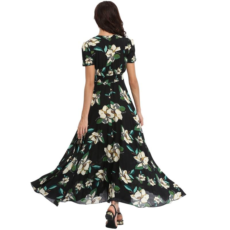 Vintage Clothing Women's Floral Maxi Dresses Boho Button Up Split Beach Party Dress 2