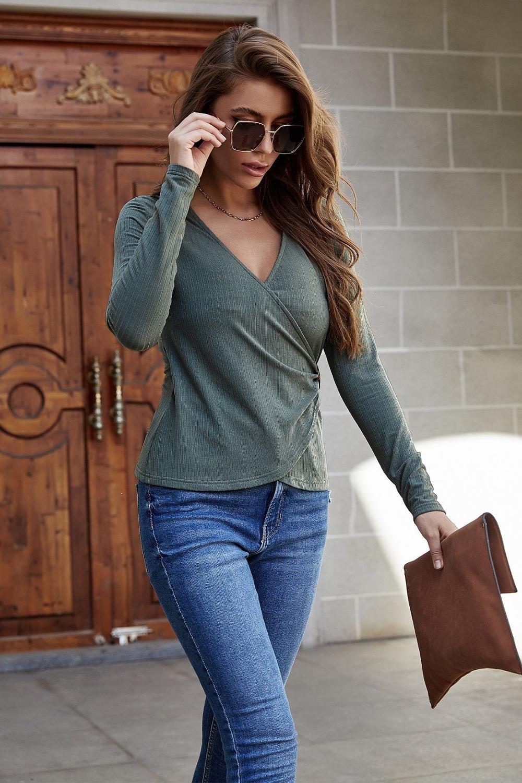 Купить женская футболка с длинным рукавом весна осень трикотажные топы