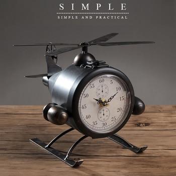 European Retro Creative Table Clock Wrought Iron Plane Desk Clock Home Decoration Bar Cafe Office Desktop Clocks Bedside Gift