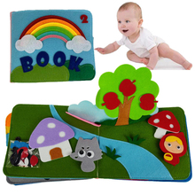 Rainbow 3D Soft Baby Books Touch and Feel Cloth Book, 3D Books Fabric Activity for Baby /Toddler, Learning to Sensory Book