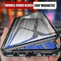 360 custodia protettiva per telefono in metallo ad adsorbimento magnetico per Xiaomi Redmi Note 10 9s 8 7 Pro Redmi 9 9A K20 Cover in vetro a doppia faccia