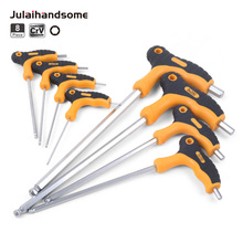 цена на HUAFENG BIG ARROW 8PC T Handle Hex Allen Key Wrench Set Ball Head Wrench 2mm-10mm For Auto Bike Motorycle Hand Tools Set