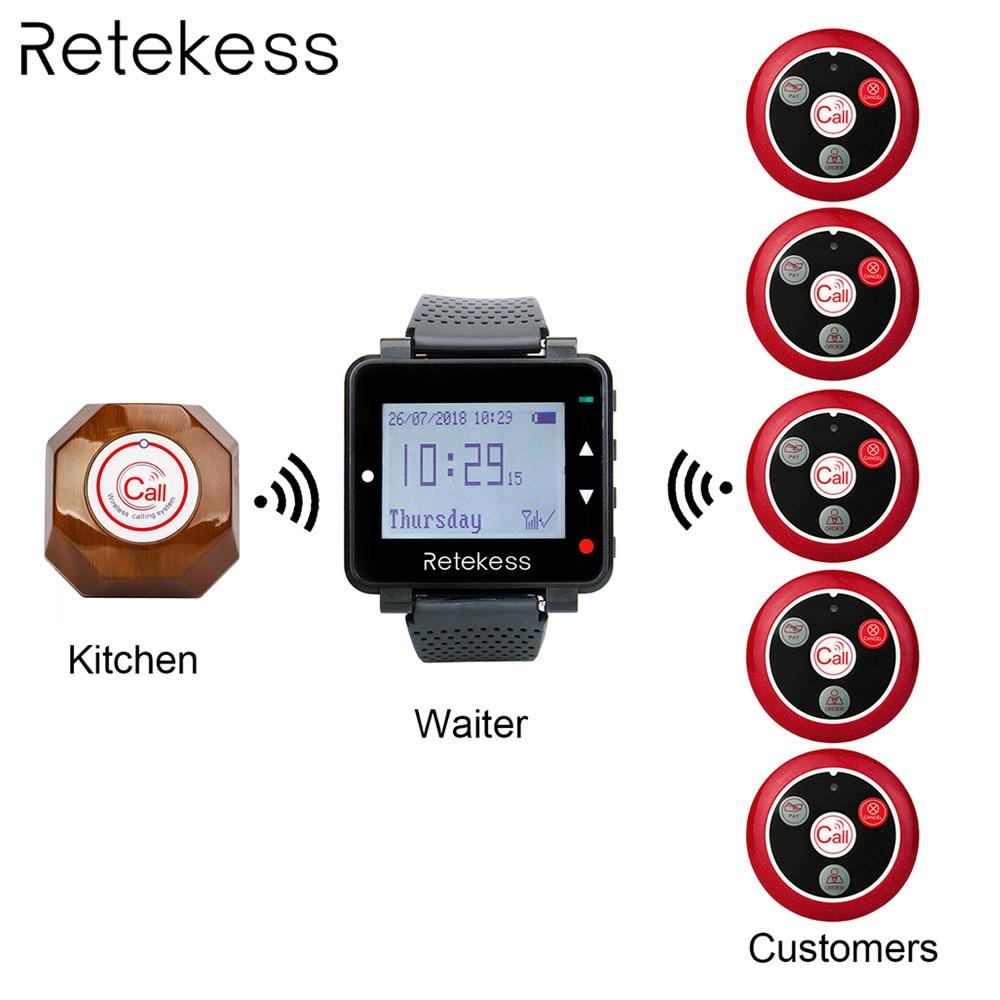 Système d'appel sans fil Retekess téléavertisseur d'appel serveur + récepteur de montre T128 + téléavertisseur à quatre touches T117