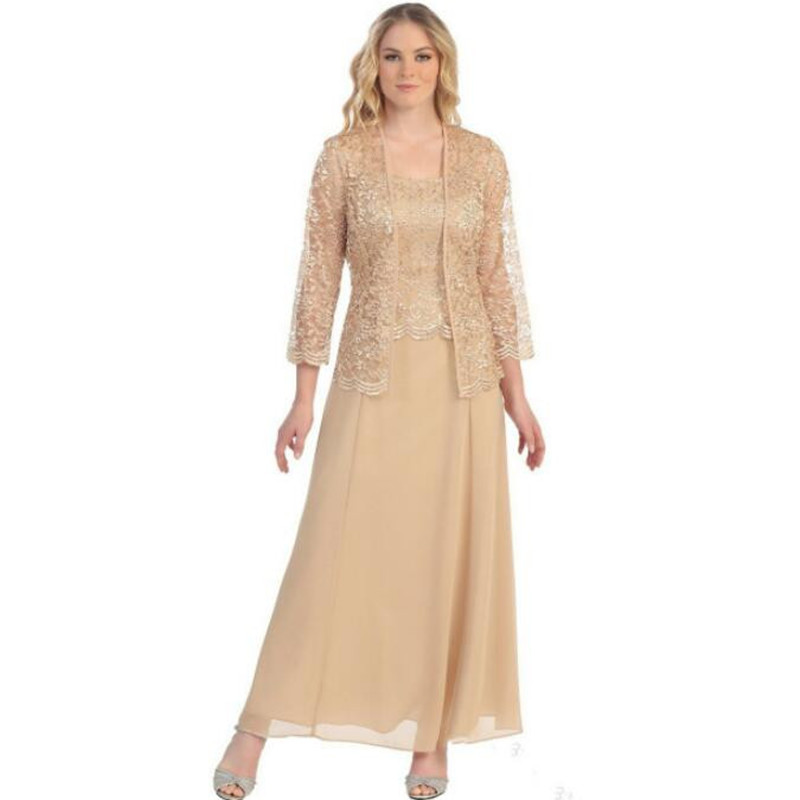 Mother Of The Bride Dresses For Wedding Chiffon Lace Jacket Long Sleeve Plus Size 2019 Robe Dress Suits Women Vestido De Madrina