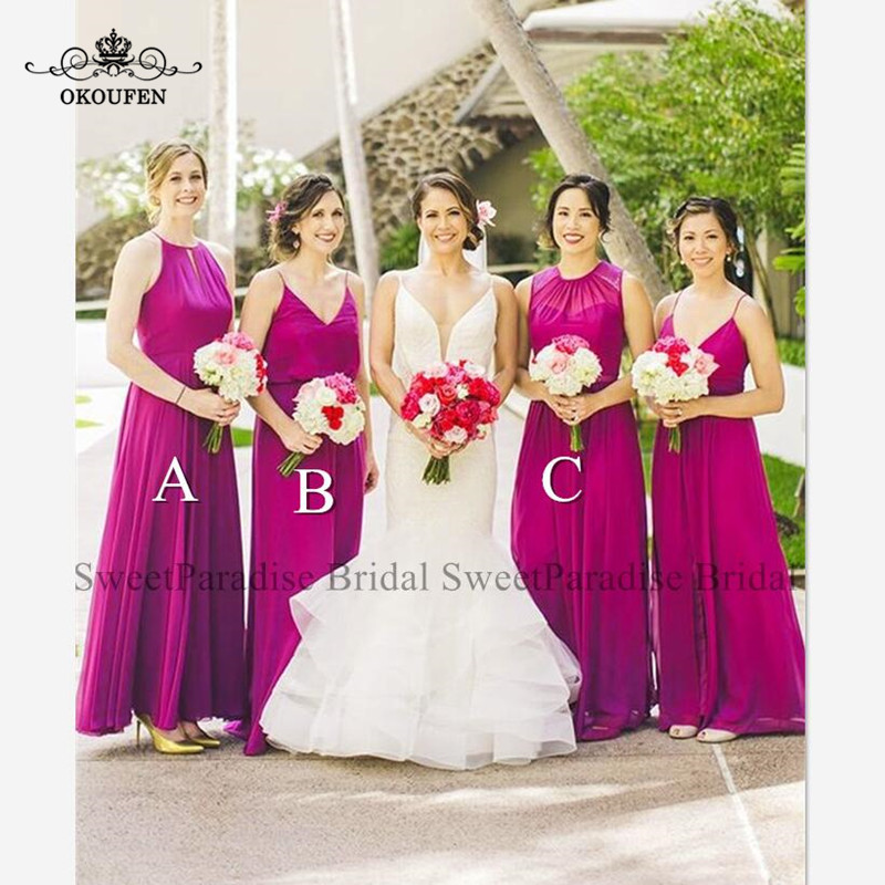 Flowing Chiffon Fuchsia Bridesmaid Dresses Long A Line Bohemia Junior Wedding Guest Dress For Women Vestidos De Festa