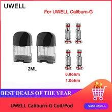 Original uwell caliburn g/koko prime 2ml vape cartucho pod 0.8ohm 1.0ohm un2 meshed-h cabeça de bobina para uwell caliburn g pod kit