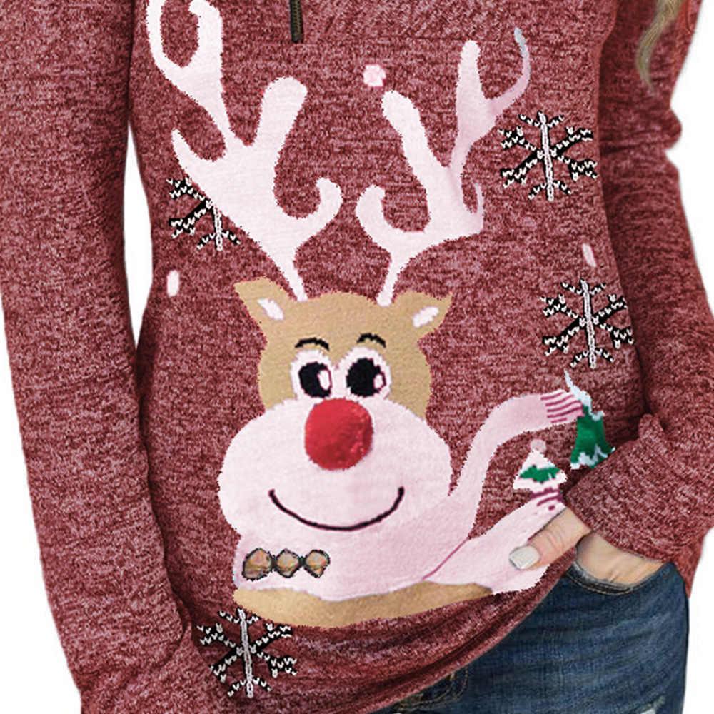 2020 hotsale Christmas Reindeer Snow Print Zipped Pullover Sweater Top Women Dots Print Tops Blouse Shirt Autumn Winter Hoodie