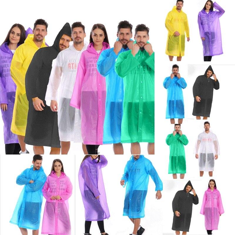Unisex Waterproof Jacket Clear Raincoat Rain Coat Hooded Poncho Rainwear Men
