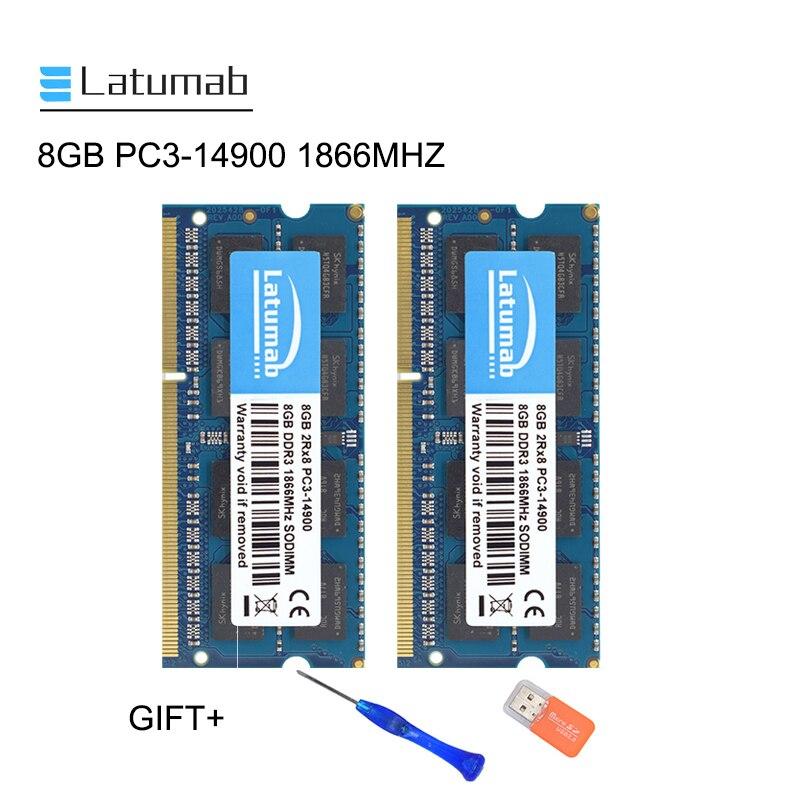 Latumab 8GB 16GB DDR3 1866MHZ PC3 14900 Laptop Memory So-Dimm Memory Ram 204 Pins 1.5V Notebook PC Memory RAM Memory Module