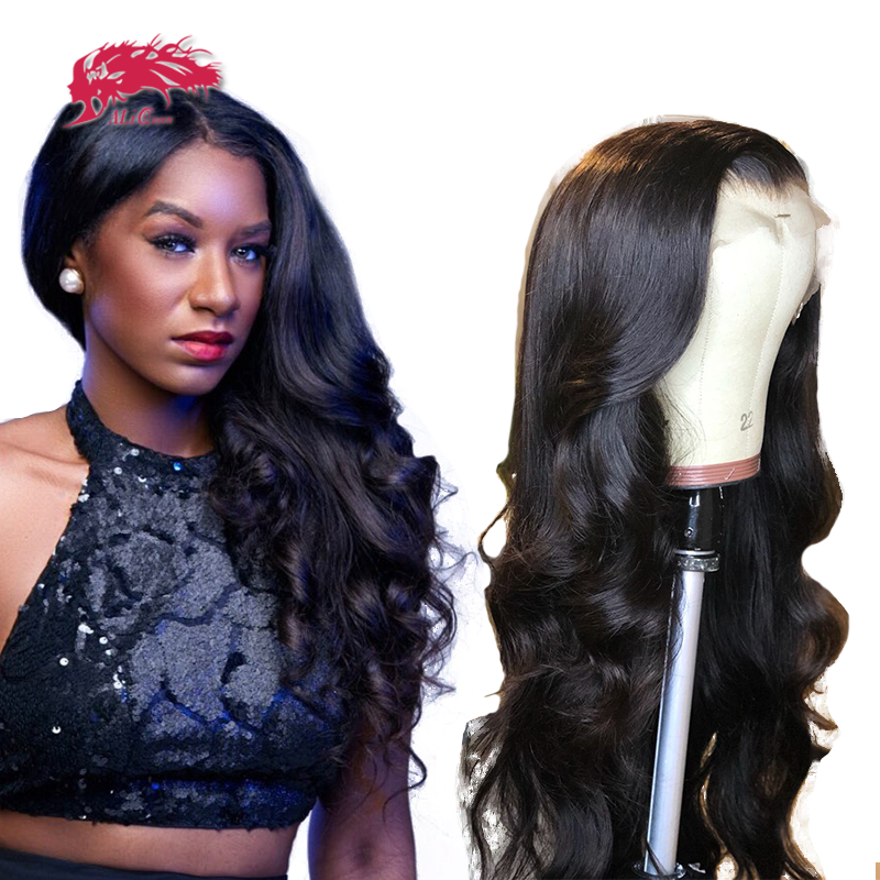 Body Wave HD Transparent Lace Frontal Wigs 150% / 180% Density 10-26 Inches Pre Plucked Hairline Brazilian Human Hair Wigs