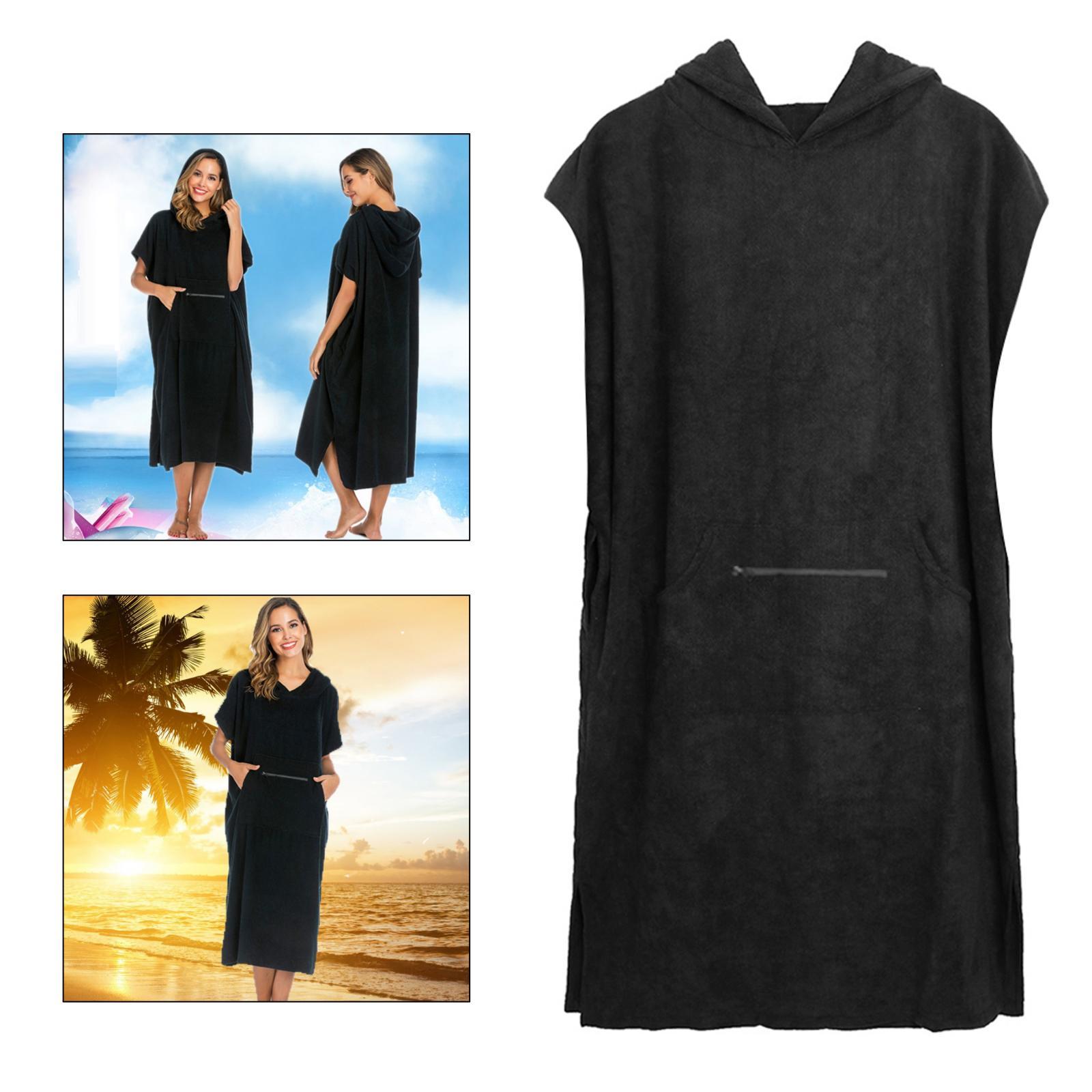 Toalla de playa con capucha de algodón puro para hombre y mujer, traje de neopreno con capucha, bata de Poncho, toalla de natación de secado rápido