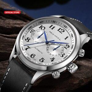Image 4 - שחף גברים של שעון עסקי מזדמן עמיד למים חגורת גברים של שעון מכאני אוטומטי משולבת 6063 מאסטר סדרה