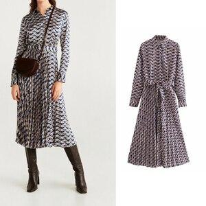 za 2019 Women's casual pleated geometric print dress long sleeve dress chic vestido mujer