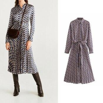 za 2019  Women's casual pleated geometric print dress long sleeve dress  chic vestido mujer allover geometric print dress