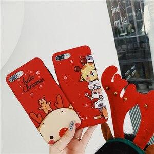 Image 2 - Christmas deer cartoon prezent dla przypadku iphone xr xs max x funda dla iphone 6 6s 8 7 plus silikonowy miękki matowy futerał na telefon czerwony okładka