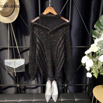 Cakucool Sexy Lace Patch Sweater Women Korean Half Stand Collar Asymmetric Design Shiny Lurex Jumpers Spring Slim Black Sweater coffee patch detail drop shoulder sweater