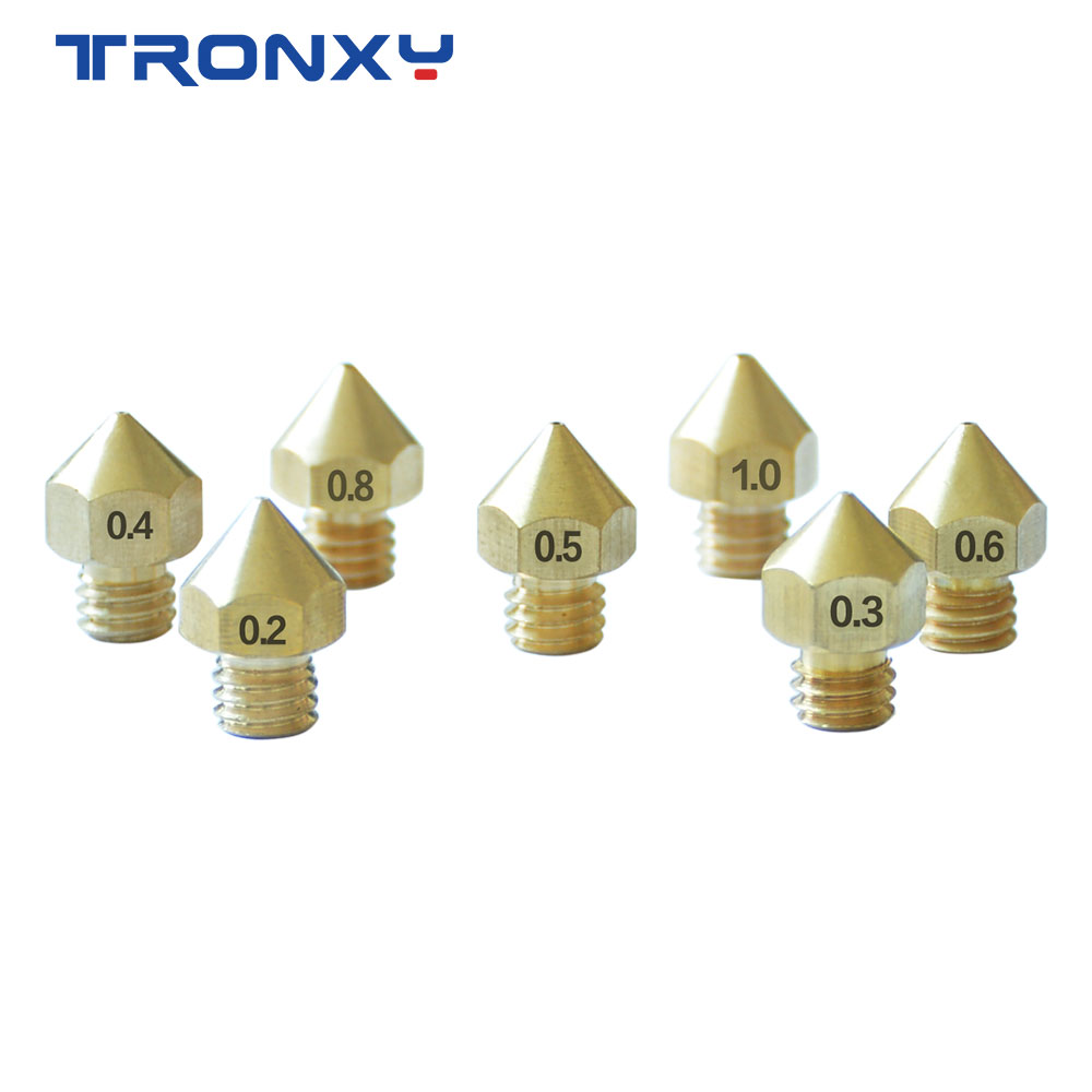 Tronxy Quality Product M6 Screw Thread Nozzle 3D Printer Parts 0.2 0.3 0.4 0.5 0.6 0.8 1.0mm Size Nozzle For 1.75mm Filament