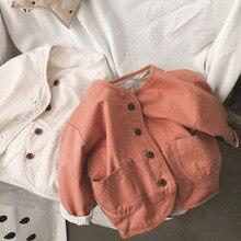 Осеннее детское однотонное пальто, детский винтажный кардиган, хлопковое пальто, детская куртка, куртка для мальчиков и девочек