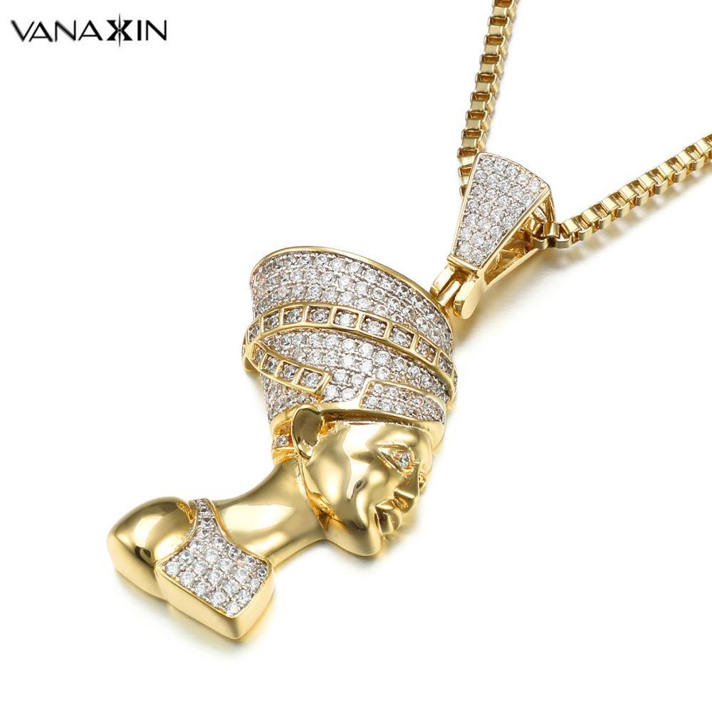 VANAXIN Egipto reina Faraón colgante collar oro/Color plata joyería mujeres colgantes declaración moda Hip Hop Collier Box regalo-in Colgantes from Joyería y accesorios    1