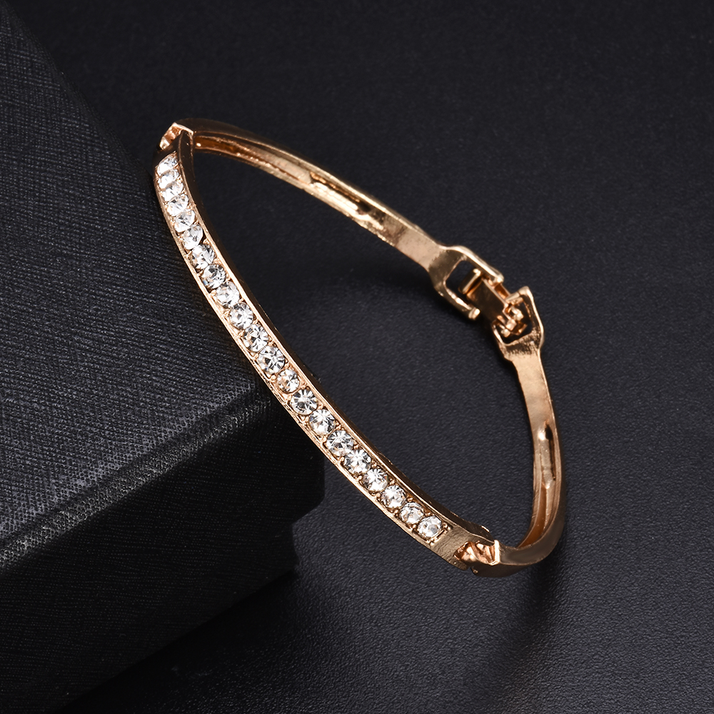 Fashion Gold Stainless Steel White Rhinestone Crystal Bracelet Women Wedding Party Cuff Bangle Bracelet Jewelry 1