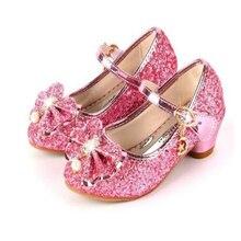 Детская кожаная обувь принцессы для девочек; Повседневная блестящая детская обувь на высоком каблуке с бантом-бабочкой; цвет синий, розовый, серебристый