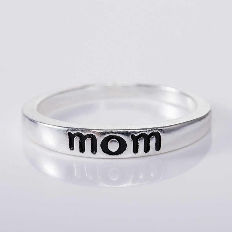 Diseño Creativo mamá madre papá anillo aleación Chapado en plata joyería Día de la madre regalo joyería al por mayor