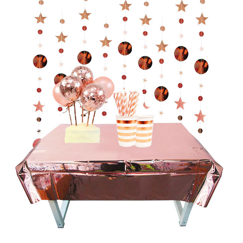 ROSE Gold Foil Metallic Party Tableware Shiny Plates Napkins Number Balloon