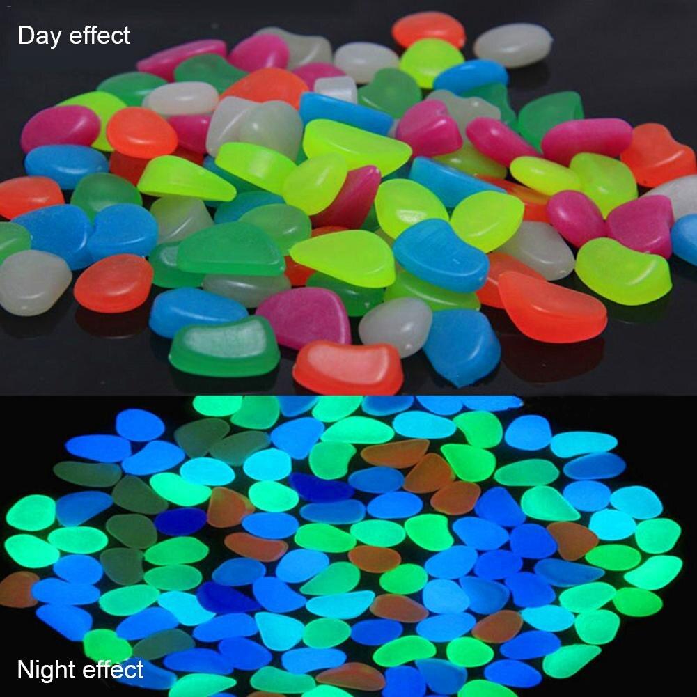 200 PCS Garden Luminous Glowing Stone Pebble (Green Blue Orange Purple Each Color 50 PCS)