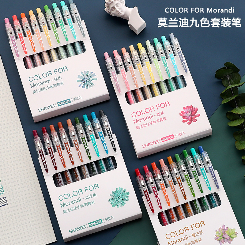 9pcs/box Vintage Morandi Color Gel Pen Ins Aestheticism Style Writing And Drawing Tool Gift Cute Stationery