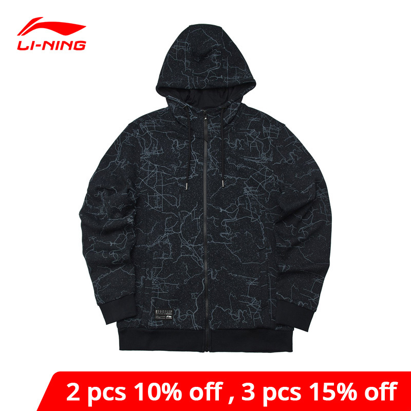 Li-Ning Men The Trend Hoodie Regular Fit 88% Cotton 12% Polyester LiNing Li Ning Comfort Sports Sweater Tops AWDP049 MWW1578