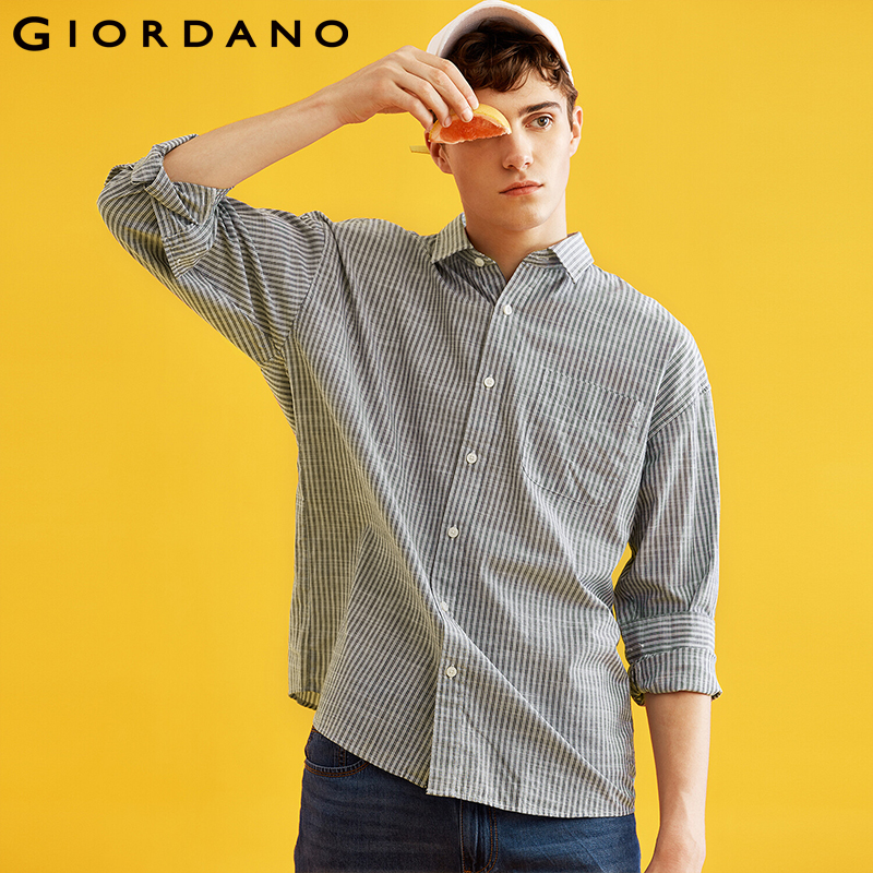 Giordano Men Shirt Men Long Sleeve Cotton Single Pocket Shirts Men Turn-down Collar Classic Style Camisa Masculina Button Front