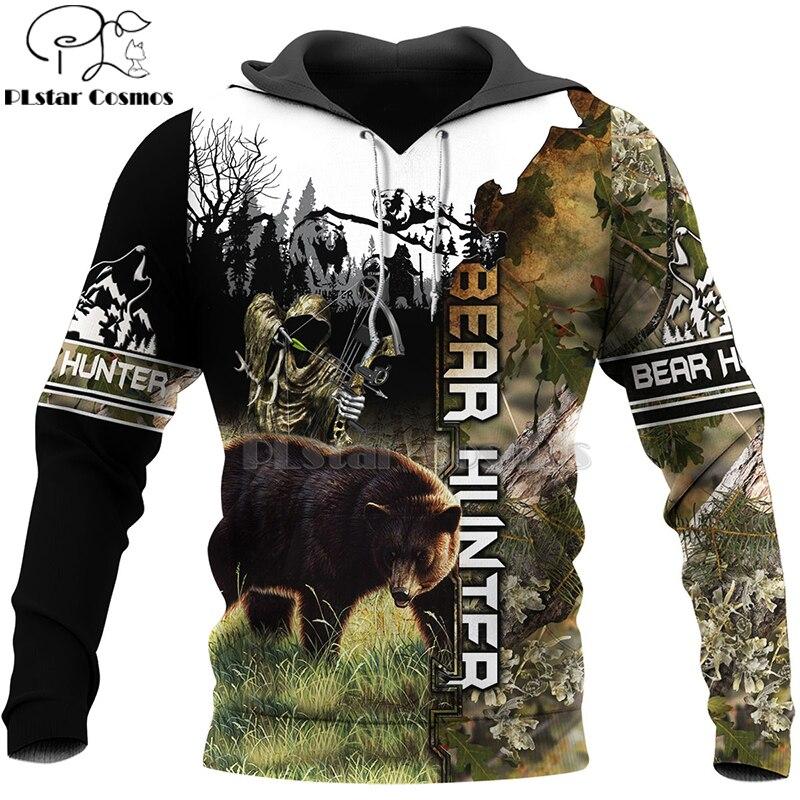 PLstar Cosmos Bear HUNTING 3D  Printed Shirts 3D Print Hoodies/Sweatshirt/Zipper Man Women Big Black Bear Bow Hunter Bear-7