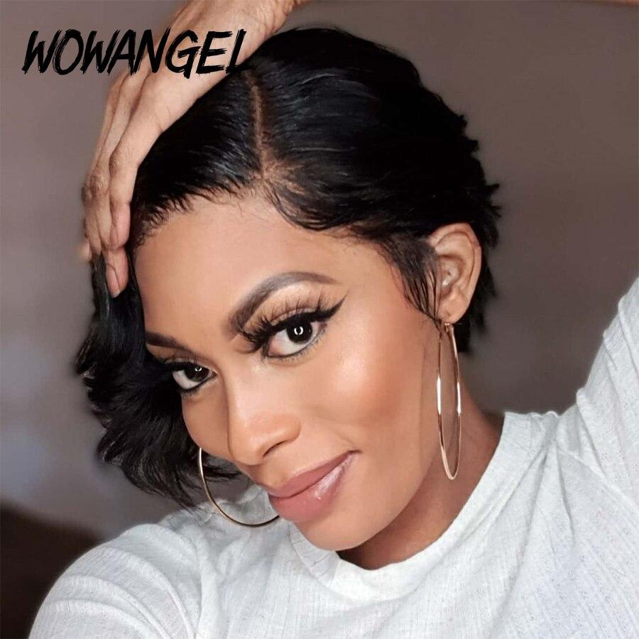 Wowangel 13x4 Lace Front Human Hair Short Wigs Pixie Cut Natural Colored Wigs For Black Women Brazilian Remy Hair Pre-plucked