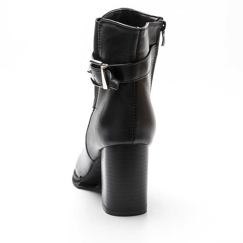 Fujin sıcak satış yarım çizmeler kadın platformu yüksek topuklu kadın dantel Up kadın ayakkabısı kare topuk kadın kısa çizme bayan pompaları