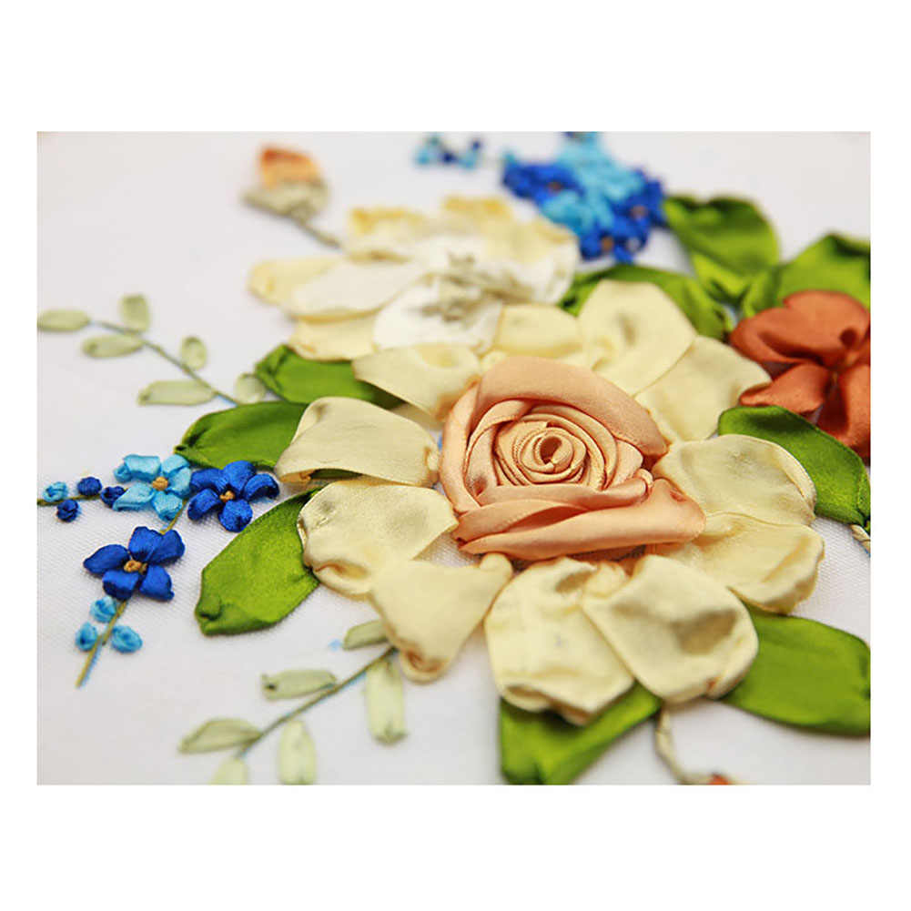 ثلاثية الأبعاد ستيريو DIY بها بنفسك اليدوية التطريز للمبتدئين عدة الإبداعية الأزهار لوازم التطريز بالأشرطة الحريرية أكياس المواد التطريز مجموعة مع هوب