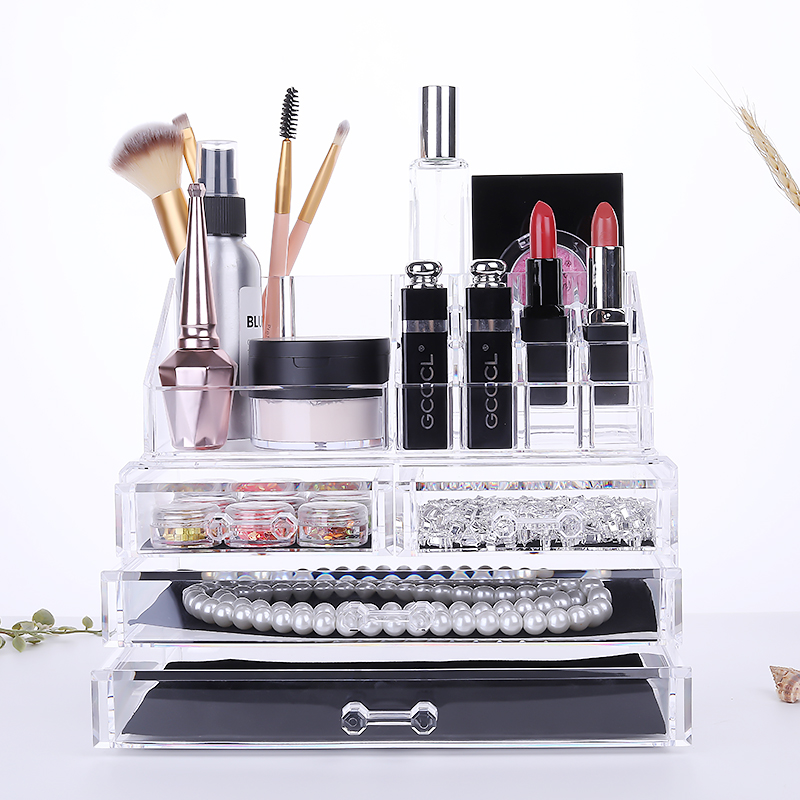 Multifunctional Transparent Acrylic Cosmetics Receiving Box Drawer Desktop Nail Ornaments Receiving Box Nail Tool