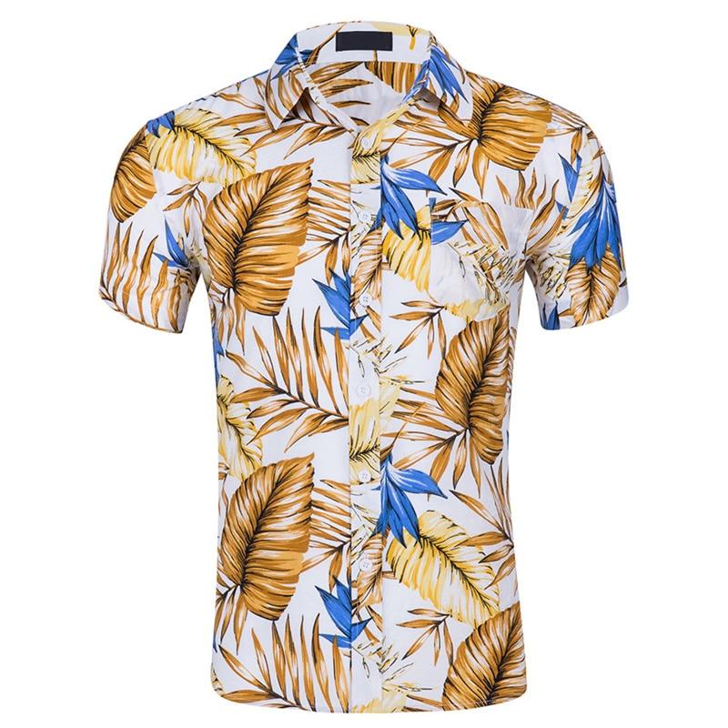 Mens Casual Shirts Summer Shirts Hawaii Shirt Short Sleeves Beach Wind Printing Cotton Short Sleeve