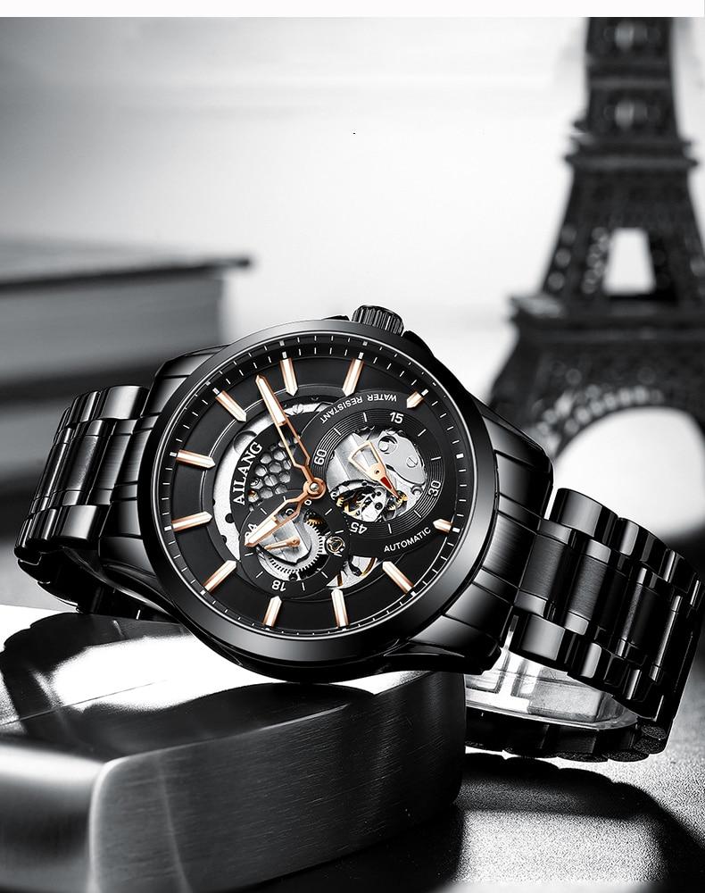 Ailang relógio masculino automático mecânico aço inoxidável