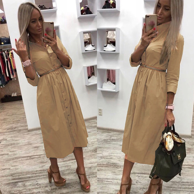 Women Casual Sashes Front Button Party Dress Three Quarter Sleeve Turn Down Collar Solid Dress 2019 Winter New Fashion Dress