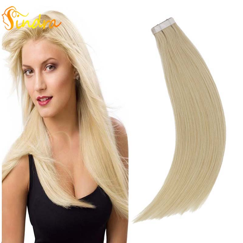 Sindra Tape In Human Hair Extensions Straight 40pcs 20pcs 100% Remy Hair Skin Weft Color #60 14-24 Inches