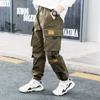 Spring Brand Kids Boys Pants Cotton Solid Cargo Pants  4-15 Year 4
