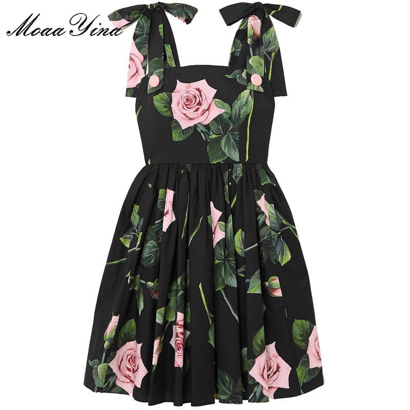 MoaaYina Fashion Designer Cotton Dress Summer Women's Dress Rose Floral-Print Black Cotton Vacation Dresses