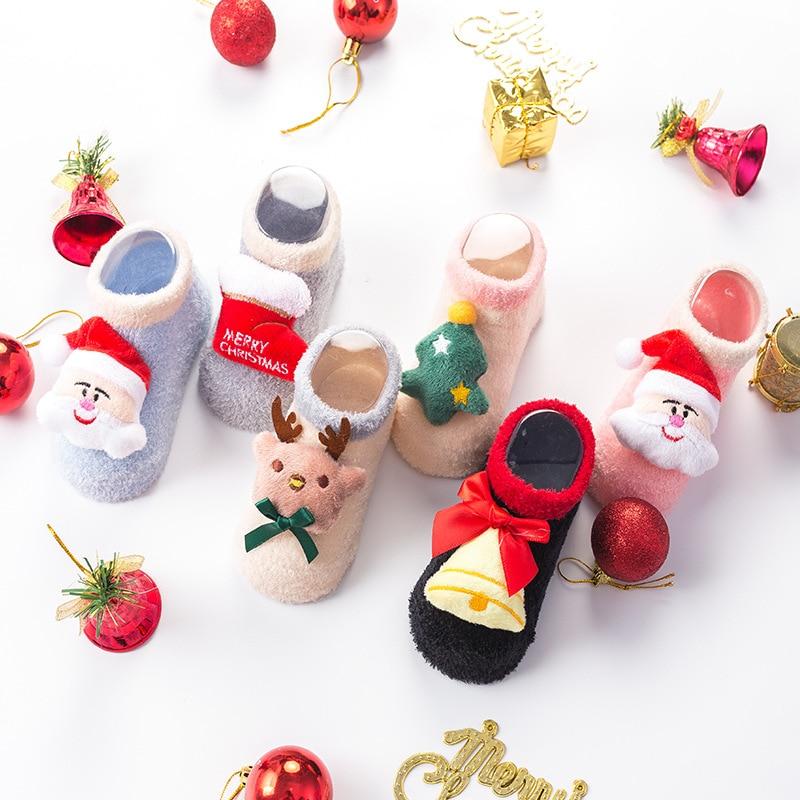 Christmas Winter Thicken Cartoon Santa Elk 3D Cotton Socks Infant Baby Girls Boys Xmas Anti-slip Socks 0-3Y