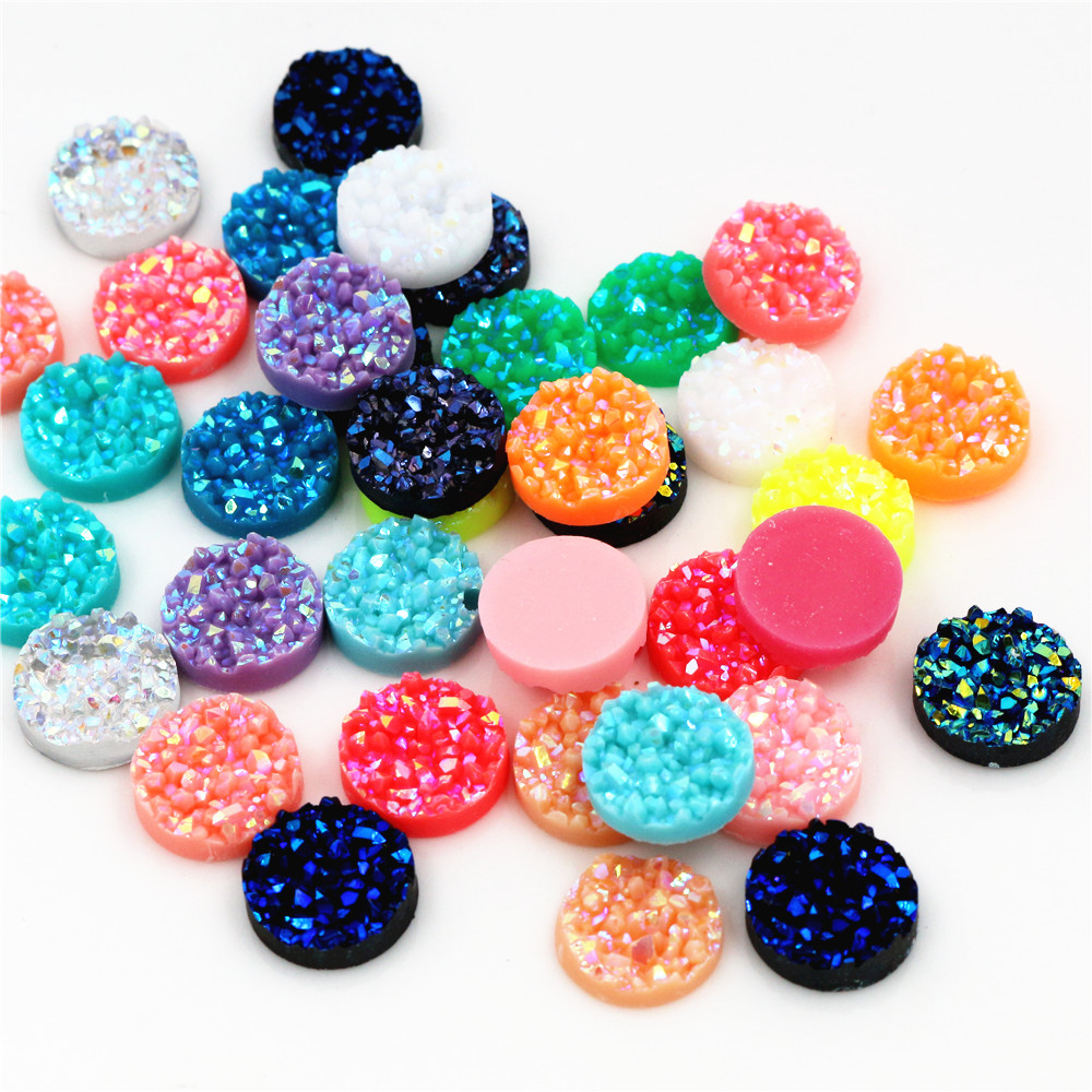 New Fashion 40pcs 12mm Mix AB Colors Druzy Natural Ore Style Flat Back Resin Cabochons For Bracelet Earrings Accessories