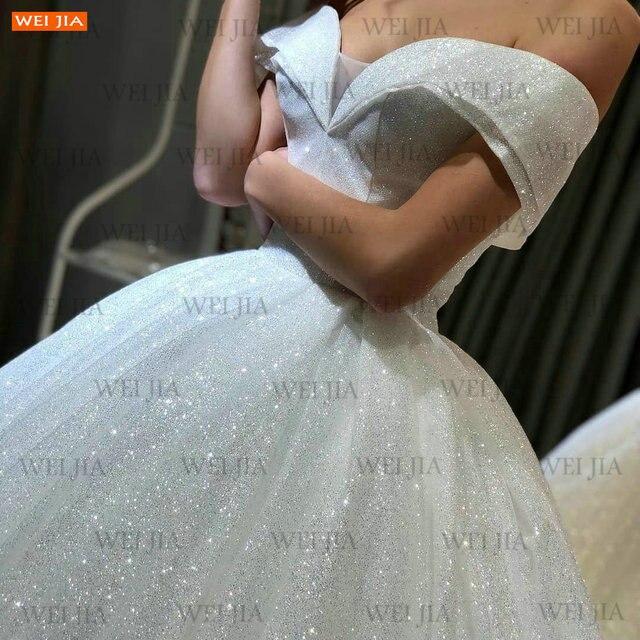 Shiny White Wedding Dresses Lace Up Reflective 2021 Vestido De Noiva Off Shoulder Women Bridal Gowns Customized Suknia Slubna 6