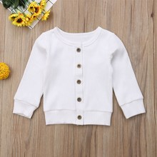 Autumn New Solid Toddler Kids Baby Boy Girl Cotton Cardigan Coat Long Sleeve Top Outwear For 0-2Y