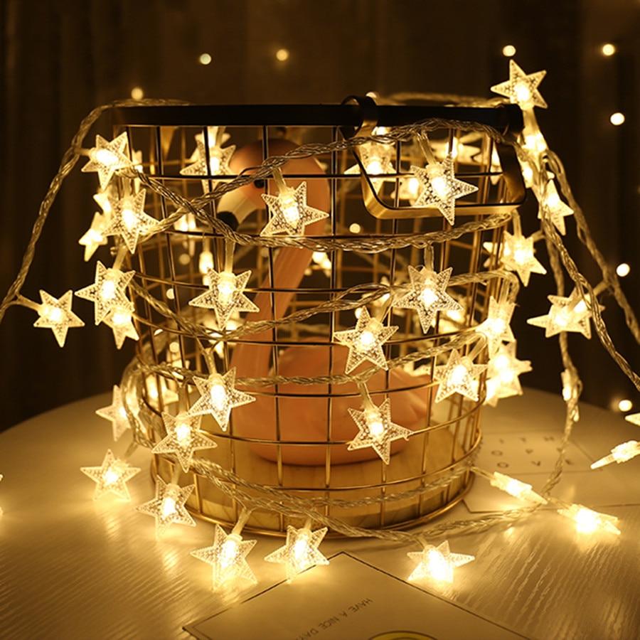 Thrisdar 3M 6M 10M Fairy Star Garland LED Ball String Lights Chrismtas Star Fairy String Light Holiday Wedding Party Globe Light