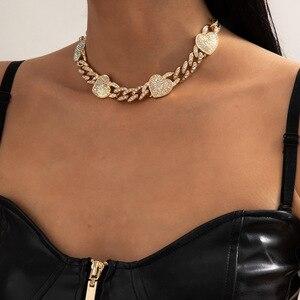 Женское Ожерелье В Стиле Хип-хоп с инкрустацией стразами и кубинской пряжкой