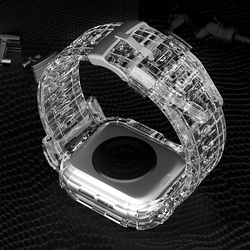 Case+Strap for Apple Watch Band 44 mm 40mm 42mm 38mm Soft Transparent Silicone Bracelet band iWatch series 5 4 3 42 38 40 44mm